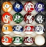 Iszy Billiards Pool Table Billiard Ball Set, Marble/Swirl Style