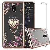 Samsung Galaxy J7 Refine Case, Galaxy J7 2018 Case, J7 V 2rd Gen(Verizon)/J7 Aero/J7 Top/J7 Duo/J7 Eon/J7 Star/J7 Crown, Bling Glitter Metal Stand Ring Clear Cover with Tempered Glass, Heart