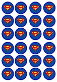 24 Superman #2 Edible PREMIUM THICKNESS SWEETENED VANILLA, Wafer Rice Paper Cupcake Toppers/Decorations