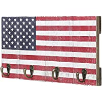4-Hook American Flag Design Wood Wall Mounted Key Hook Rack