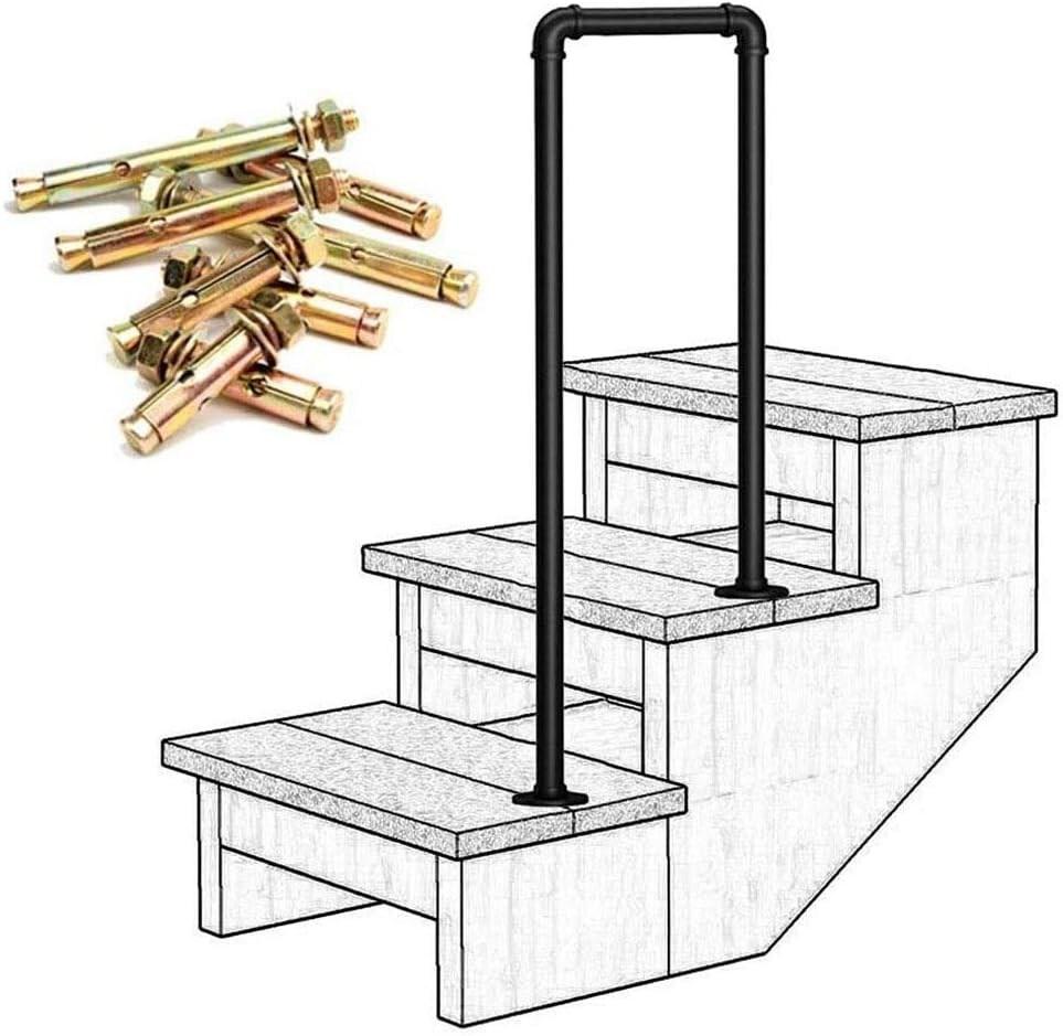 Amazon Com Lanna Shop Handrails For Outdoor Steps Matte Black   New Railings For Outdoor Stairs   Railing Kits   Metal   Aluminum   Railing Ideas   Wood