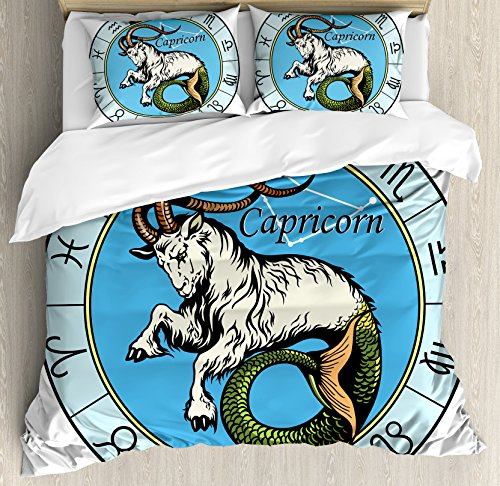 Astrology Queen Size Duvet Cover Set by Ambesonne, Ancient Illustration of Capricorn Icon with Signs Mythology Greek Saturn Design, Decorative 3 Piece Bedding Set with 2 Pillow Shams, Multi