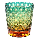 Crystal Double Old Fashioned Bar Glass 8.8oz Edo Kiriko Eternal Flower Design Cut Glass - Green x Amber [Japanese Crafts Sakura]