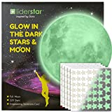 Glow in The Dark Stars and Free Removable Full Moon Wall Stickers 220 adhesive Glowing Star Beautiful Wall Decals for Bedroom. for Room,light your Ceiling, Bonus Affirmation Card for Kids By LIDERSTAR