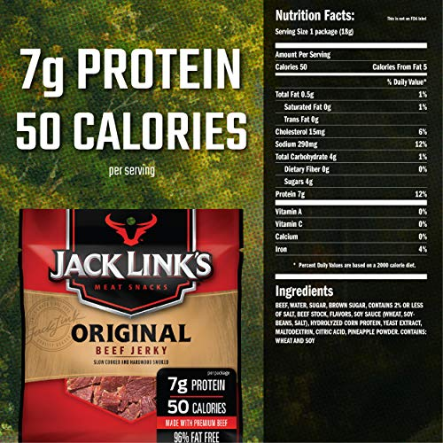 Jack Link's Beef Jerky, Original, 0.625 Ounce – Flavorful Meat Snack for Lunches, Ready to Eat – 7g of Protein, Made with 100% Beef – No Added MSG or Nitrates/Nitrites (Pack of 20) 7