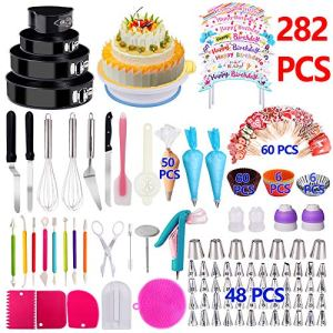 Cake Decorating Supplies 2019 Upgrade 274 PCS Baking Set with Springform Cake Pans Set,Cake Rotating Turntable,Cake Decorating Kits, Muffin Cup Mold, Cake Baking Supplies for Beginners and Cake Lovers 61Mdil8dTGL