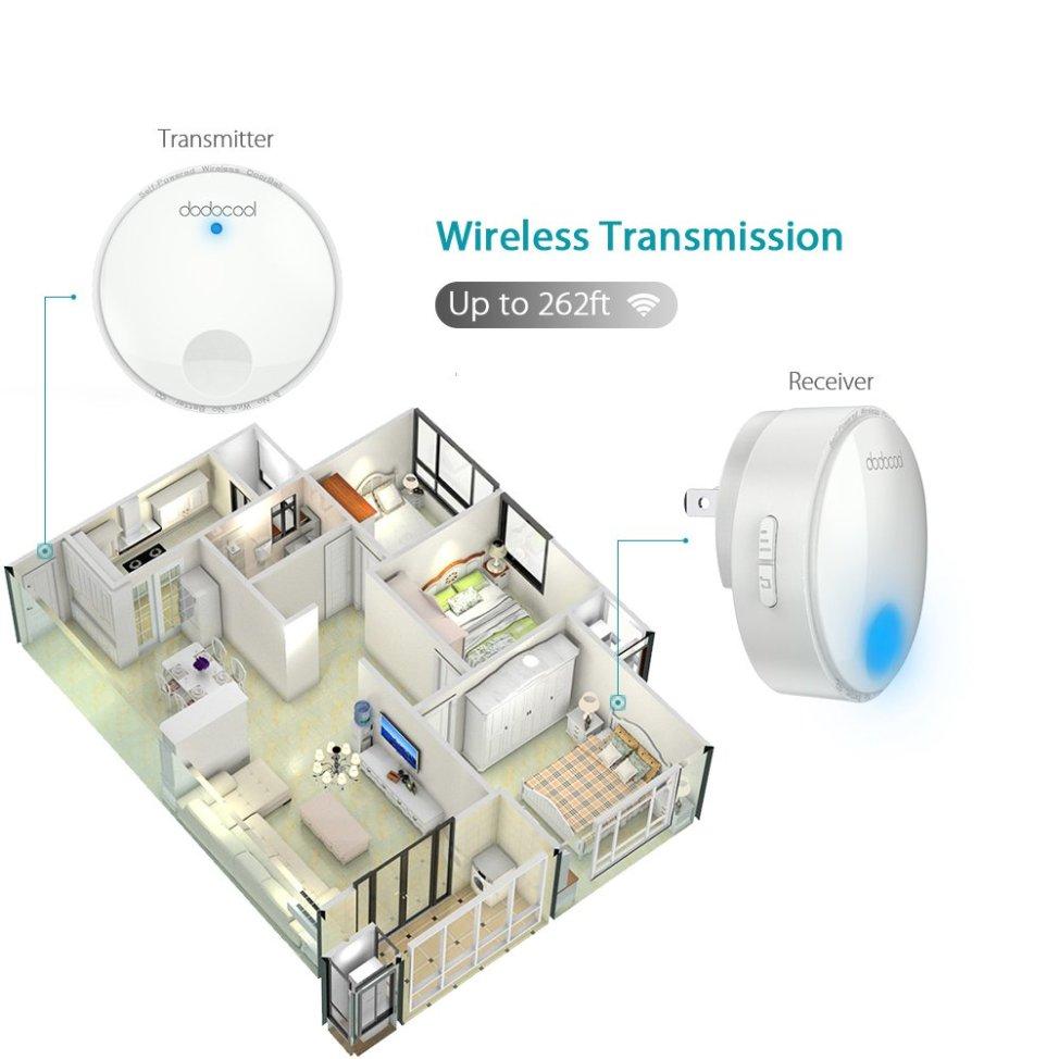 dodocool ワイヤレスチャイム 無線 防水チャイム ワイヤレスドアベル ドアベル 呼び鈴 呼び出し鈴 チャイムセット メロディー38種類 受信距離262フィート LEDライト 防犯機能 電池不要 (受信機1個 送信機1個)
