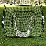 Goplus 7'×7' Baseball & Softball Practice Net, Hitting Net for Indoor & Outdoor Training Hitting Batting Catching Pitching, w/Bow Frame & Carry Bag (Black)