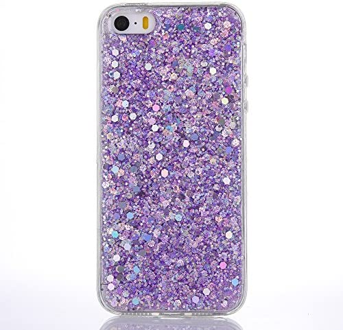 iPhone SE Case/iPhone 5 5S Case [with Free Tempered Glass Screen Protector],Mo-Beauty® Luxury Bling Shiny Sparkle Glitter Soft Flexible TPU Silicone Gel Case Cover for Apple iPhone 5/5S/SE (Purple)