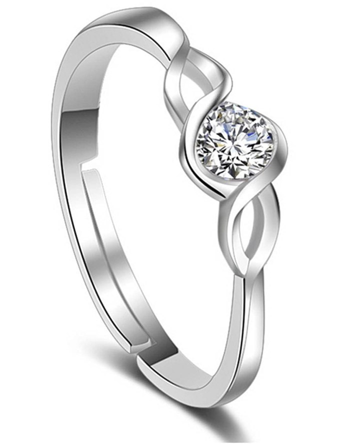 Karatcart Platinum Crystal Adjustable Ring