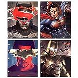 DC Comics Batman Superman Justice League 3-Ring Binder Portfolio Folders with Pockets, 4-Pack