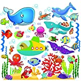 Ocean Fish Wall Stickers Decor for Kids, Under The Sea Wall Decals for Toddlers' Bathroom, Bedroom, Window, Bathtub, Baby's Nursery, and Children's Classroom, Removable Peel and Stick That Clings