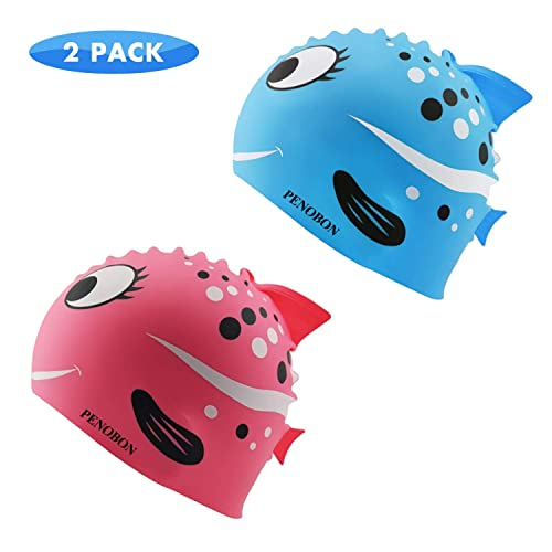 Kids Swim Cap 2 Pack, Fun Silicone Swim Caps for Boys and Girls, Fit for Children 3-12