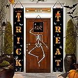 AOSTAR Halloween Decorations Porch Sign - Trick or Treat Banner Set Halloween Welcome Hanging Porch Sign Decoration for Indoor/Outdoor Home, Front Door Display, Garden