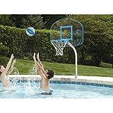 Dunnrite Junior Clear Hoop Deck Mounted Pool Basketball Hoop Set 14-inch Stainless Steel Rim
