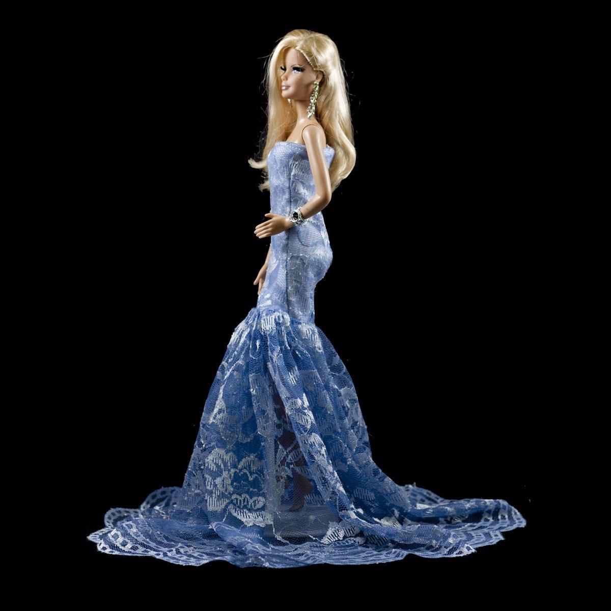Barbie Blue Multitextured Lace Strapless Gown Blue Long Dress