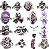 SEXY SPARKLES Ten (10) Rhinestone Charm Beads in Assorted Colors to Choose from for Snake Chain Bracelets