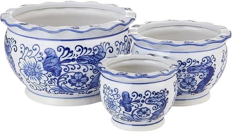 Amazon Com Hakkagirl Blue And White Porcelain Flower Pots Decorative Plant Pots For Indoor Set Of 3 Garden Outdoor