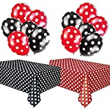 LIUYIJI Polka Dot Plastic Tablecloth Red & White and Black & White, and Two Packages of Polka Dot Balloons