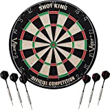 Viper Shot King Regulation Bristle Steel Tip Dartboard Set with Staple-Free Bullseye, Galvanized Metal Radial Spider Wire; High-Grade Compressed Sisal Board with Rotating Number Ring for Extending Life, Includes 6 Steel Tip Darts