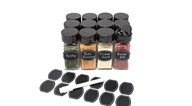Glass clear square spice jars with sleek Black sifter lid 4oz in case of 12 by Nicole Jean (With Chalkboard Labels and Chalkboard Pen)