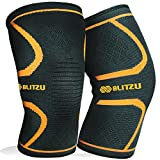 Blitzu Flex Plus Compression Knee Brace for Joint Pain, Meniscus Tear, ACL, MCL and Arthritis Relief Improve Circulation Support for Running, Gym Workout Recovery Best Sleeves Patella Stabilizer Pad M