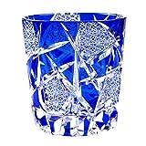 Crystal Double Old Fashioned Glass, Edo Kiriko Cut Glass Crack - Blue [Japanese Crafts Sakura]
