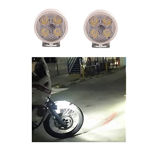 A2d 4 Led Small Round Auxiliary Bike Fog Lamp Light Assembly White Set Of 2