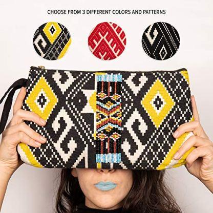 DwellStudio-Vegan-Clutch-for-Women-Boho-Style-Clutch-Wristlet-Purse-Womans-Hand-Bag-Wallet-Beautiful-Gift-for-Women-Black-White-Yellow-with-Beads