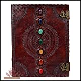 Leather Journal Book Seven Chakra Medieval Stone Embossed Handmade Book of Shadows Notebook Office Diary College Book Poetry Book Sketch Book 10 x 13 Inches
