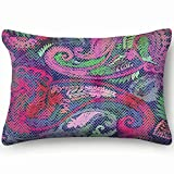 Paisley Trendy Color Traditional Hand Drawn Abstract Home Decor Wedding Gift Engagement Present Housewarming Gift Cushion Cover 20X30 Inch
