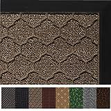 Gorilla Grip Original Durable Rubber Door Mat (35 x 23) Heavy Duty Doormat for Indoor Outdoor, Waterproof, Easy Clean, Low-Profile Rug Mats for Entry, Patio, High Traffic Areas (Beige Quatrefoil)