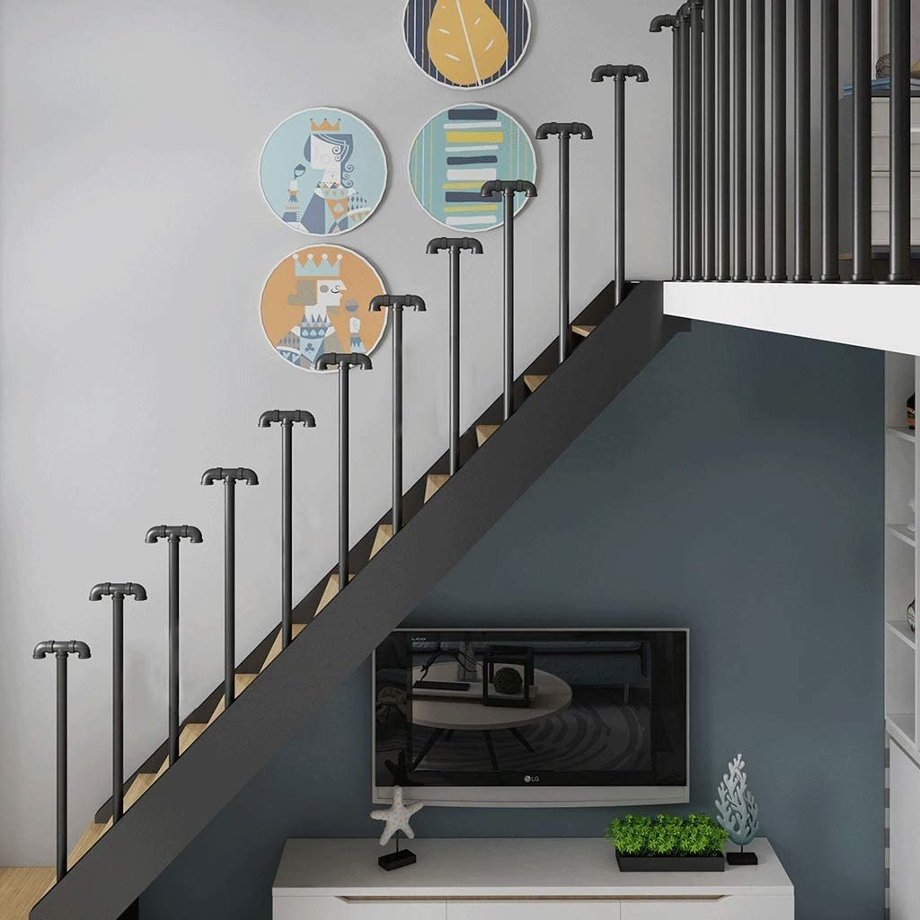 Amazon Com 35 100Cm Wrought Iron Stair Handrail T Shaped Metal | Iron Stairs Design Indoor | Stainless Steel | Stair Treads | Stair Railings | Spiral Stairs | Steel