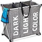 HOMEST Laundry Basket 3 Sections, Large Dirty Clothes Hamper Sorter for Bathroom, Foldable Hamper Divided, Grey