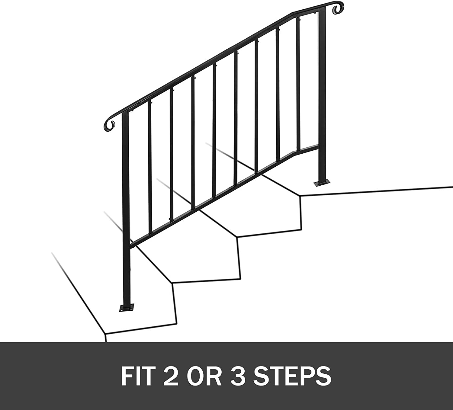 Handrails Happybuy Handrail Picket 2 Fits 2 Or 3 Steps Matte | 3 Step Stair Railing | Manufactured Home | Basic Deck | Residential Stair | 2 Bar | Three Step