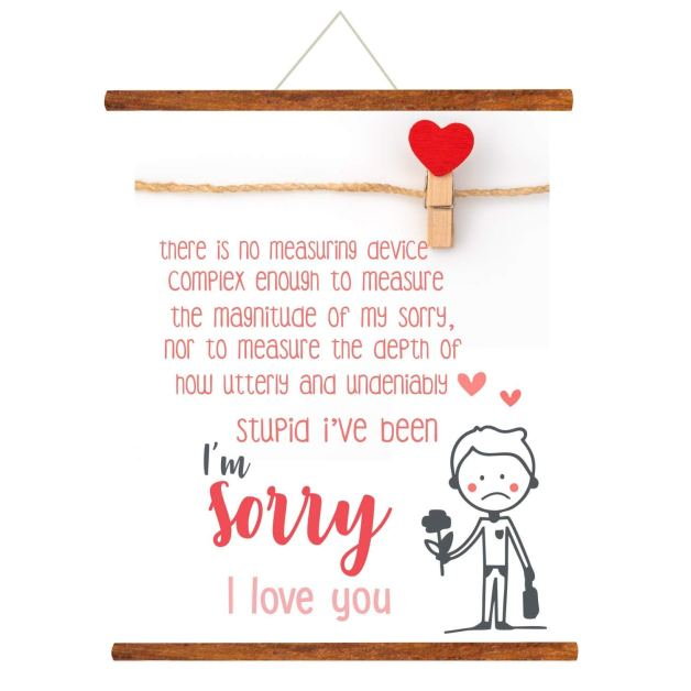 Yaya Cafe Sorry Greeting Card Gift for Girlfriend Wife Boyfriend Husband I am Sorry I Love You Scroll - 24 x 32 inches: Amazon.in: Office Products