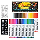 36 Colors Fabric Markers, Shuttle Art Fabric Markers Permanent Markers for T-Shirts Clothes Sneakers Jeans with 13 Stencils 1 Fabric Sheet,Permanent Fabric Pens for Kids Adult Painting Writing