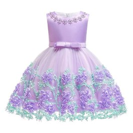 3T 4T Girl Dresses 3 4 Year Old Knee Length Party Flower Dresses for Kids 2T Wedding Ball Gowns Sleeveless Lavender Lilac Girl Dress Size 3 4 Lace Father Daughter Dance Princess Dress Purple 3-4T