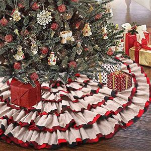 KERIQI-48-Inch-Buffalo-Plaid-Christmas-Tree-Skirt-Burlap-Red-and-Black-Check-Ruffle-Tree-Skirt-for-Rustic-Farmhouse-Holiday-Christmas-Tree-Decorations