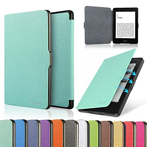 HAOCOO Ultra Slim Leather Smart Case Cover Build in Magnetic [Auto Sleep/Wake] Function for All-New Kindle Paperwhite Generations Prior to 2018 (Not fit All-New Paperwhite 10th Generation)(Aqua)
