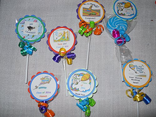 24 Oh the Places We Will Go Dr Seuss Graduation Personalized Candy Lollipop Party Favor