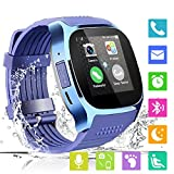 Smart Watch Bluetooth Smartwatch Unlocked Cell Phone Watch with SIM TF Card Smart Wrist Watch with Camera Fitness Tracker Sports Watch for All Android Phones Samsung Huawei Men Women Kids (Blue)