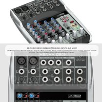 Behringer-Xenyx-Q802USB-Premium-8-Input-2-Bus-Mixer-and-Deluxe-Bundle-with-Closed-Back-Headphones-7X-Cables-Fibertique-Cloth