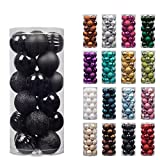 "KI Store 24ct Christmas Ball Ornaments Shatterproof Christmas Decorations Tree Balls Small for Holiday Wedding Party Decoration, Tree Ornaments Hooks included 1.57"" (40mm Black)"