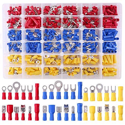 Glarks-540pcs-22-1616-1412-10-Gauge-Mixed-Quick-Disconnect-Electrical-Insulated-Butt-Bullet-Spade-Fork-Ring-Solderless-Crimp-Terminals-Connectors-Assortment-Kit
