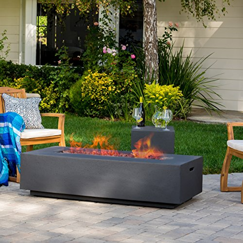 GDF Studio Jaxon Outdoor Fire Table with Lava Rocks & Tank Holder (Dark Grey)