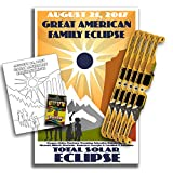 Solar Glasses for the Great American Total Eclipse 2017 (5 Pack) - CE & ISO Certified - Includes Commemorative Poster & Kids Coloring Pages w/ Crayons