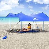 Red Suricata Family Beach Sunshade - Beach Sun Shade Canopy | UPF50 UV Protection | Beach Shade Tent with 4 Lightweight Aluminum Poles, 4 Sandbag Anchors | Portable Beach Sun Shelter (Blue, Large)