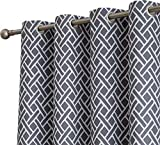 HLC.ME Basketweave Print Blackout Grommet Curtain Panels for Window - 99% Light Blocking - Thermal Insulated Decorative Hanging Pair for Privacy & Room Darkening - Set of 2 (52' W x 96' L, Grey)