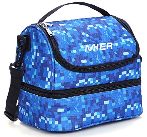 MIER Double Decker Insulated Lunch Box Soft Cooler Bag Thermal Lunch Tote with Shoulder Strap (Blue)